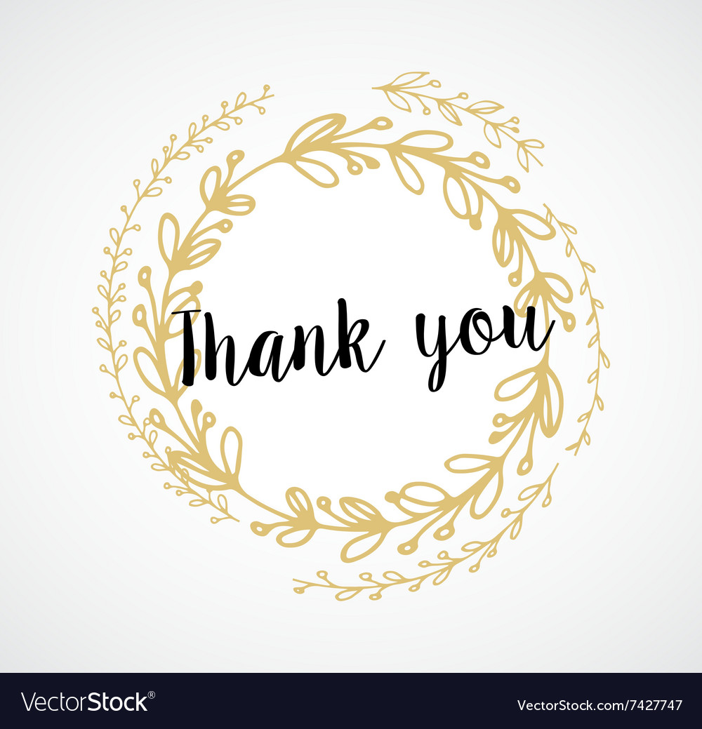 Thank you  card with gold laurel wreath and text vector