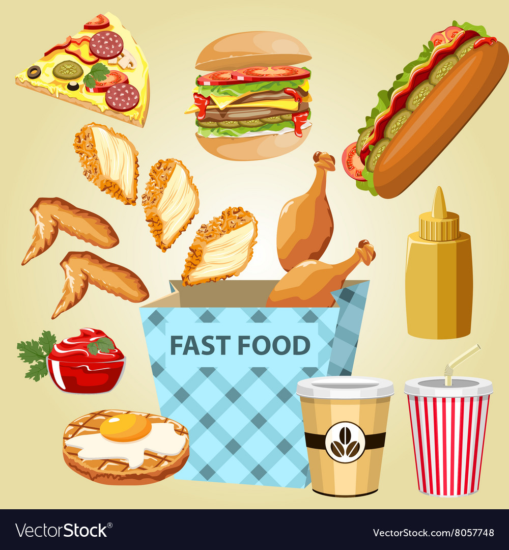 Different parts chicken product fast food vector
