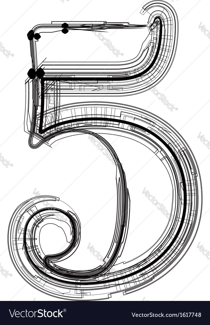 Technical typography number 5 vector