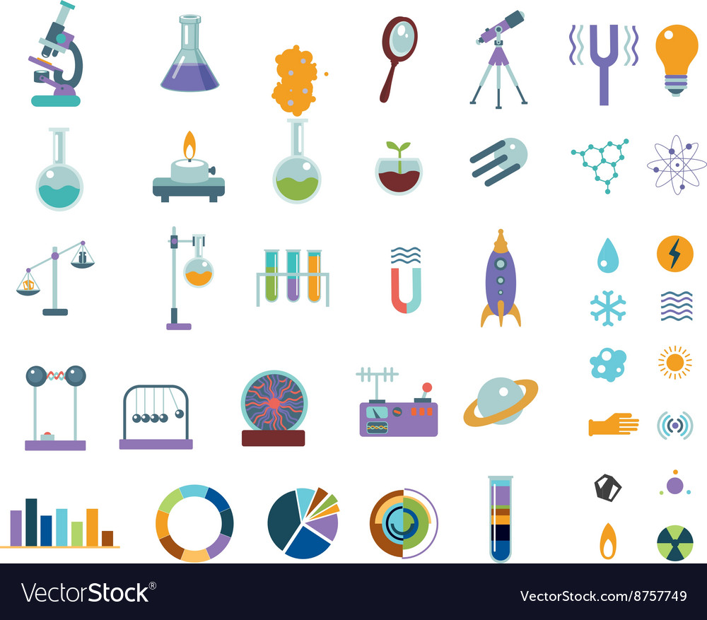 Big science icons set isolated on white lab vector