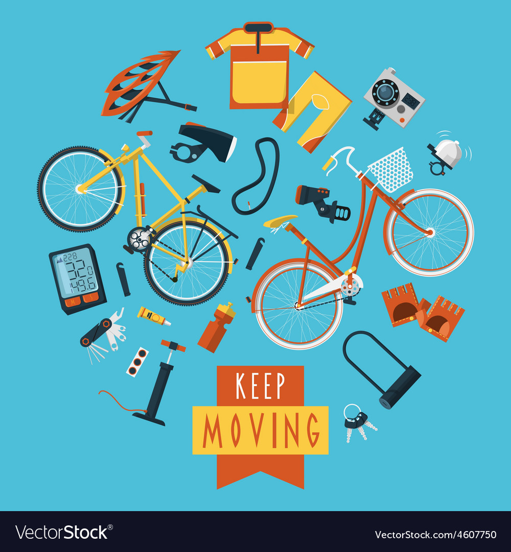 Cycling concept pictograms composition circle vector