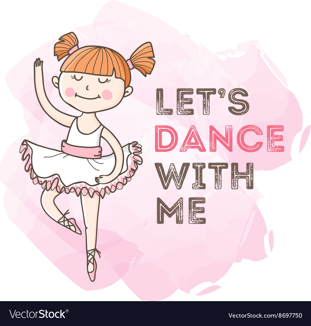 Dancing girl with motivation quote little vector