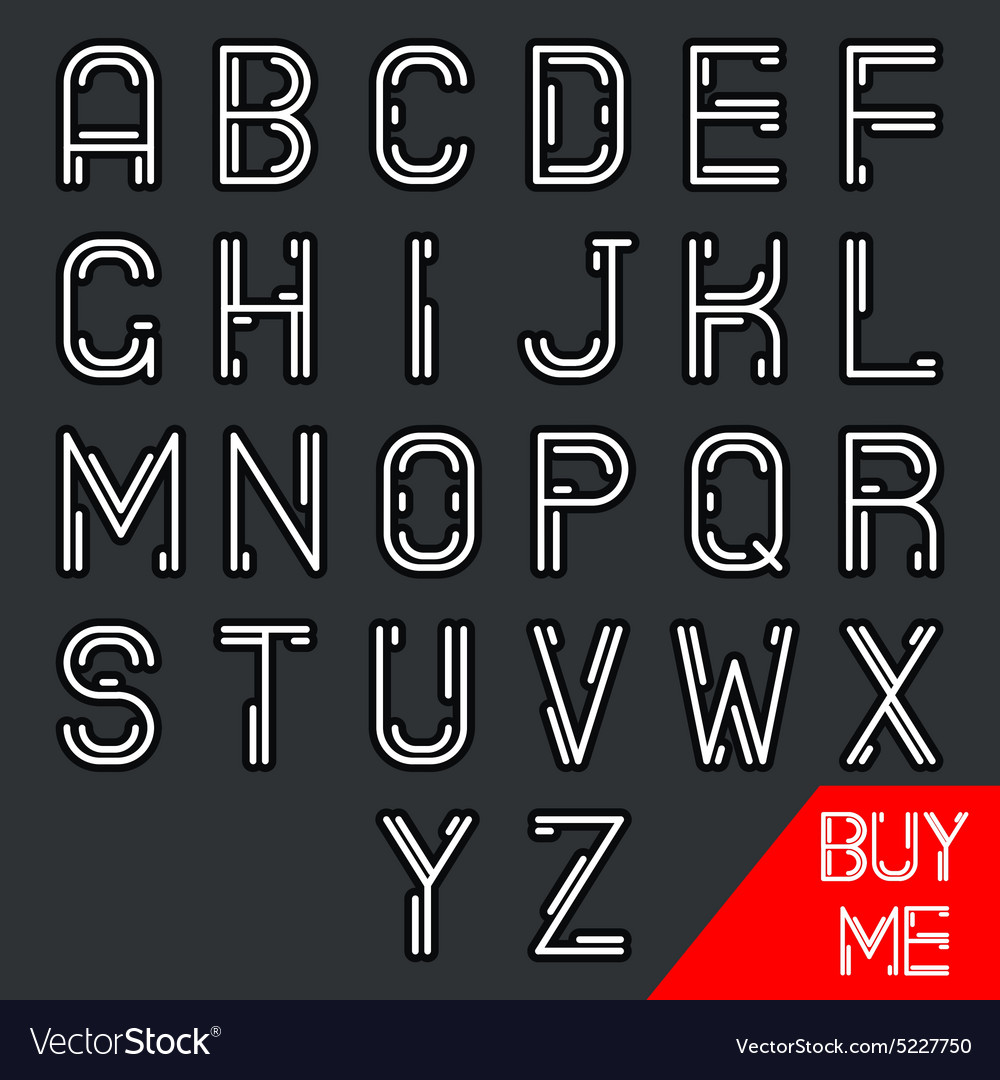 Simple line hipster geek abstract retro alphabet a vector