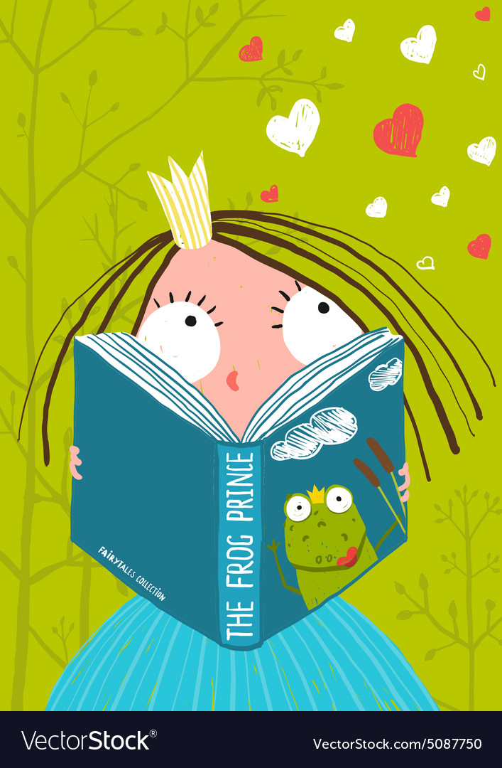Smart cute little girl reading fairy tale book vector