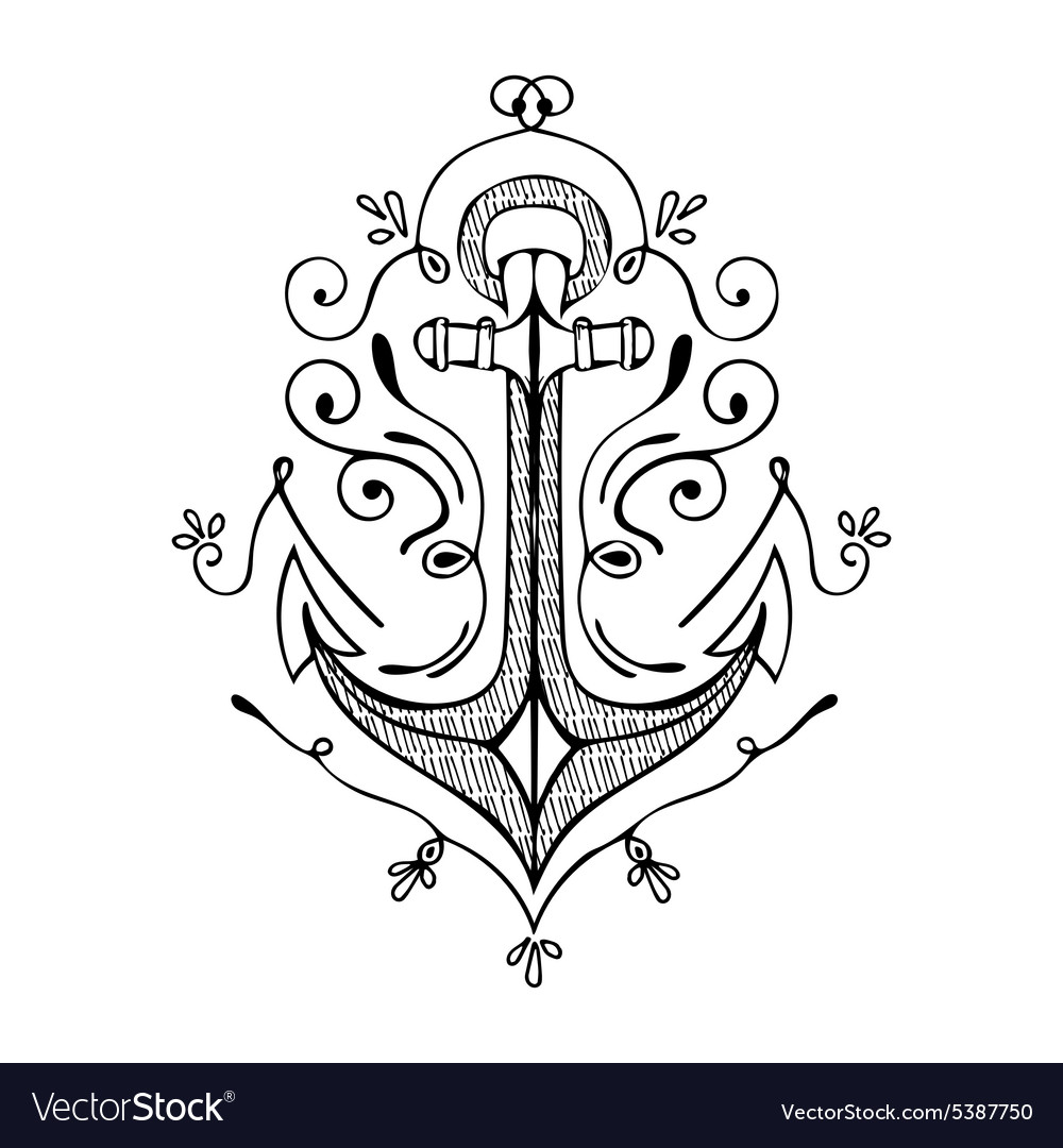 Vintage hand drawn flourish anchor vector