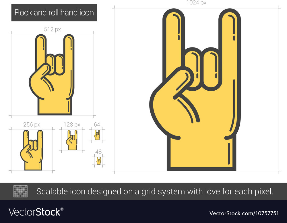 Rock and roll hand line icon vector