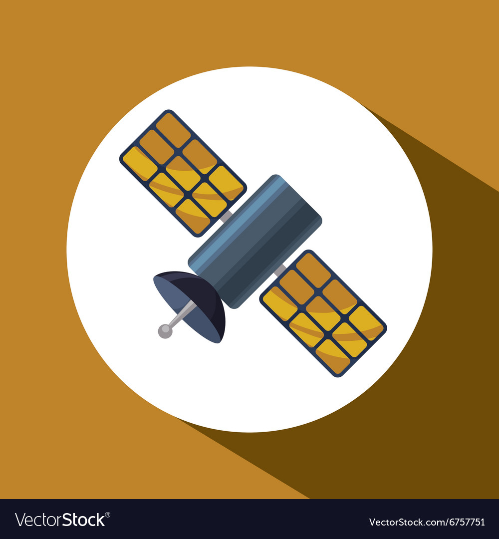 Satellite over circle design vector