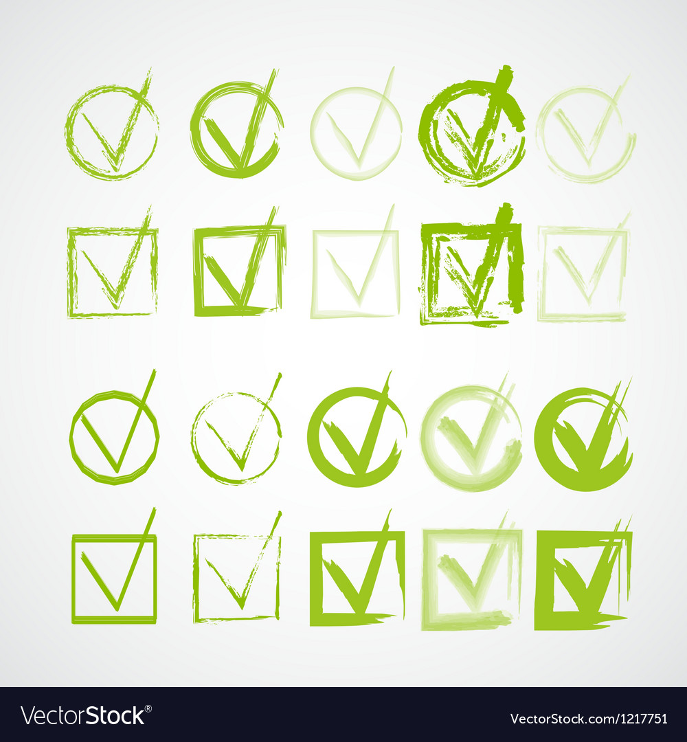 Set of handdrawn check marks grunge checkmarks vector