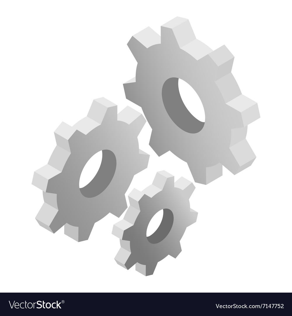 Gears isometric 3d icon vector