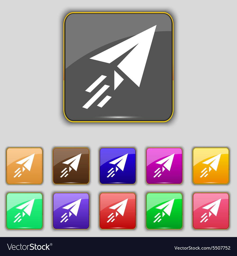 Paper airplane icon sign set with eleven colored vector