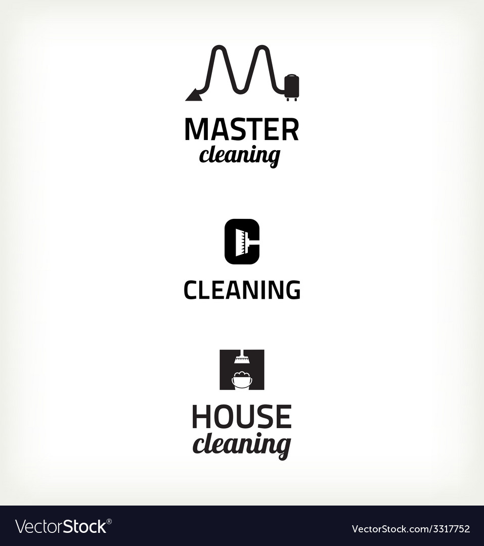 Set of minimalistic cleaning sign vector