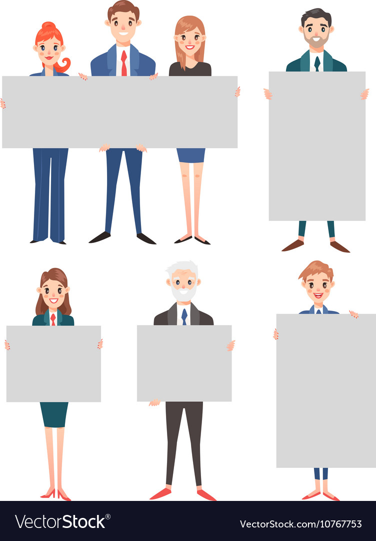 Business people hold banner set vector
