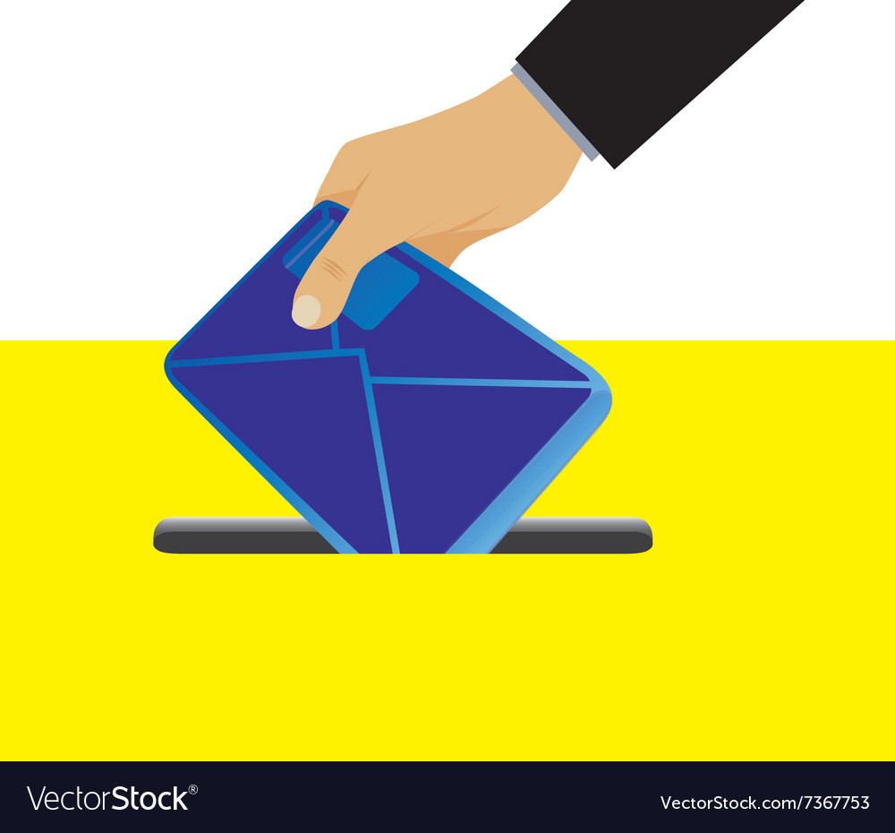 Hand putting an envelope in the mailbox vector