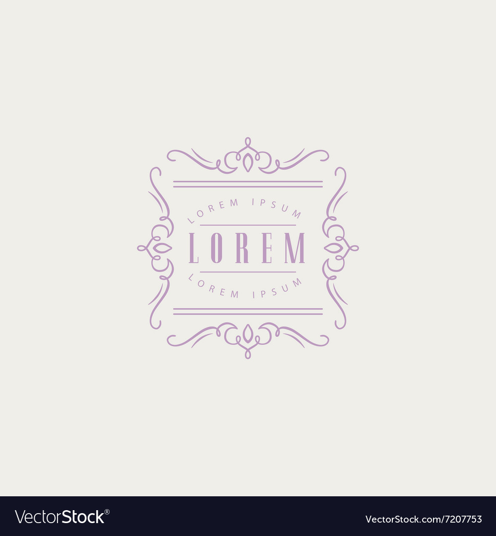 Square monogram design template vector