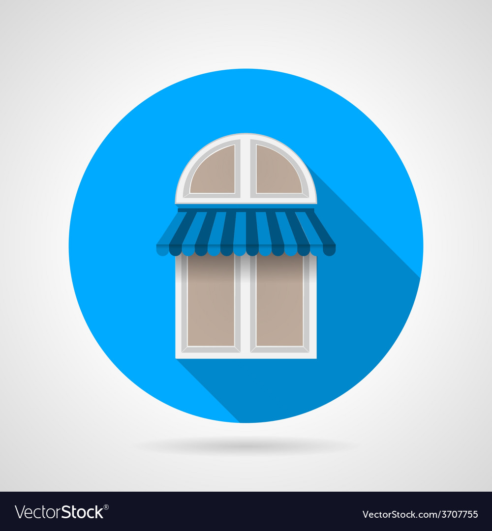 Flat icon for arch window with awning vector