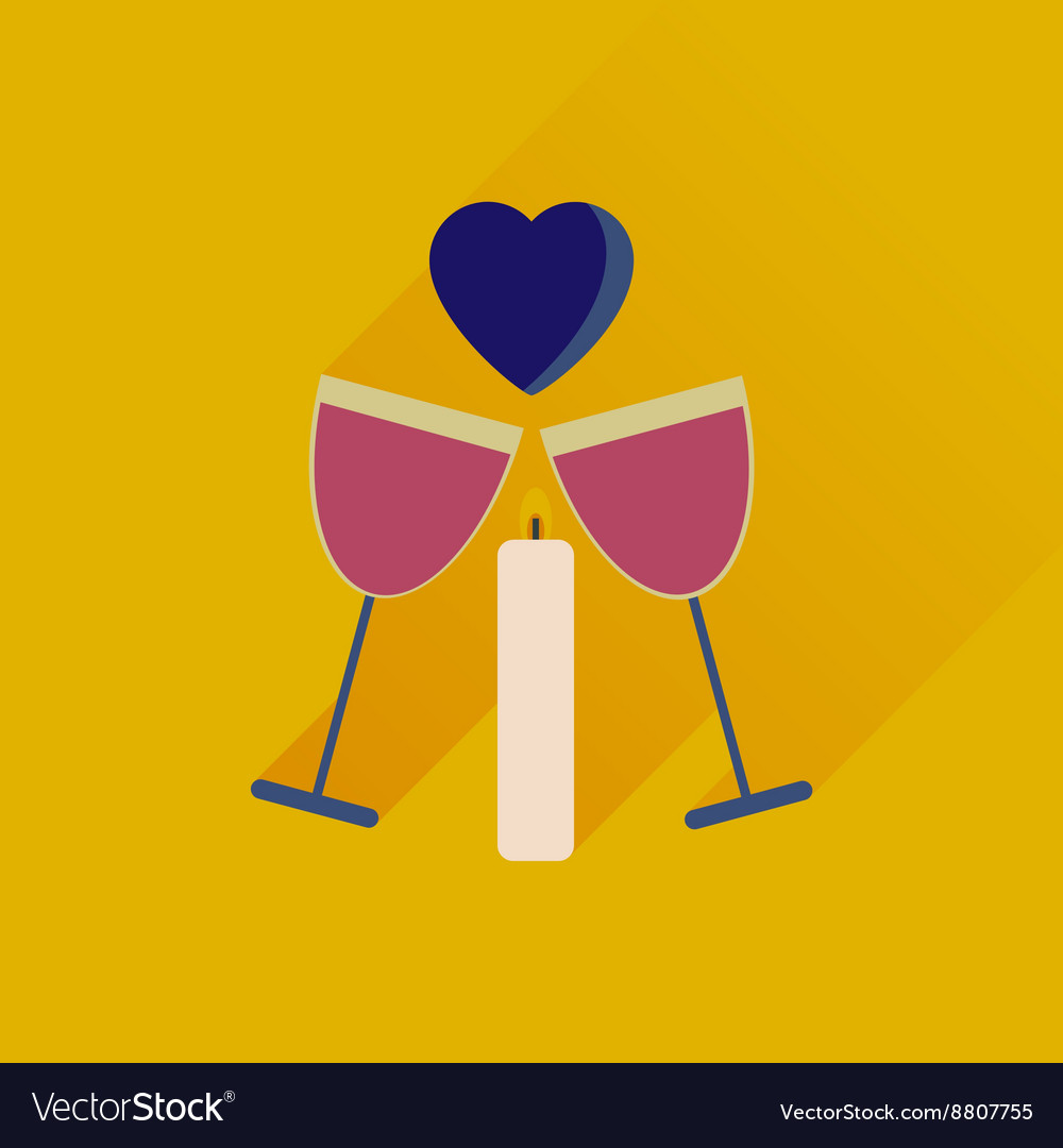 Flat web icon with long shadow glasses of wine vector