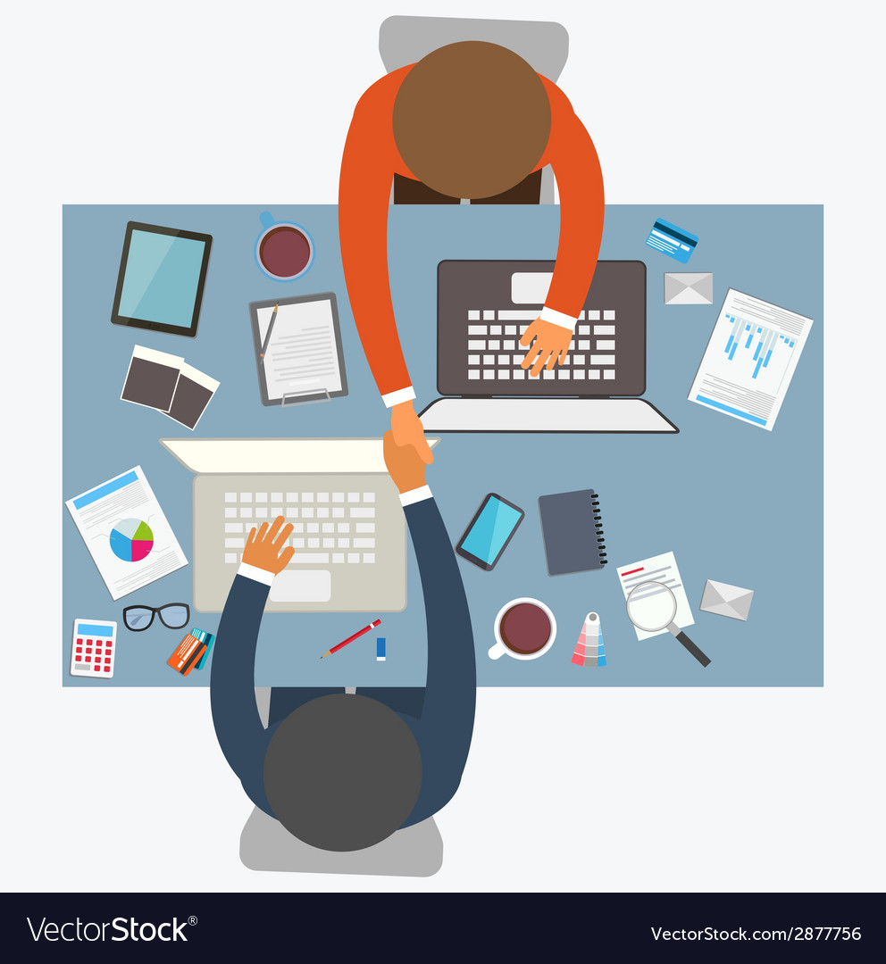 Flat design style of business meeting office work vector