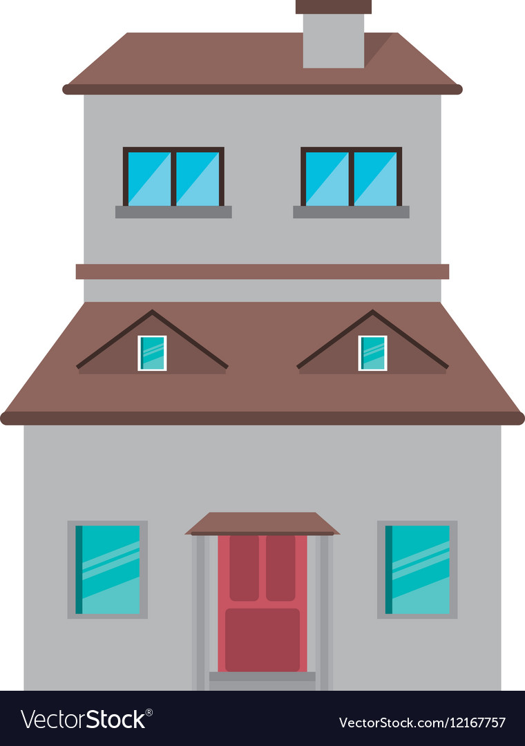 Cartoon family house exterior concept vector