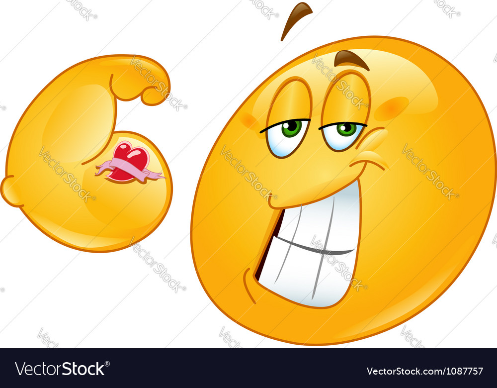 Muscle emoticon vector