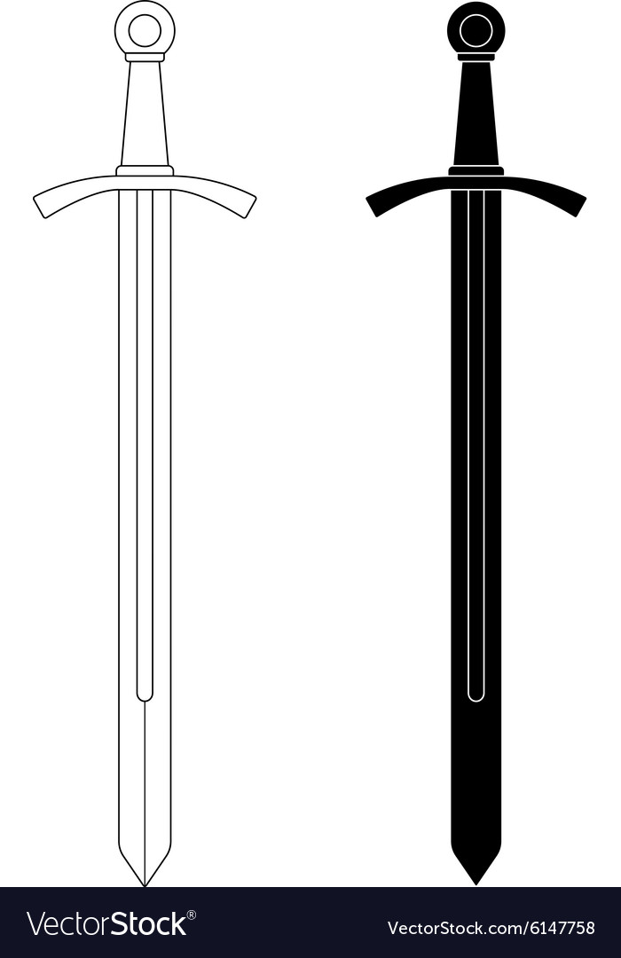 Onehanded medieval knight sword contour black vector