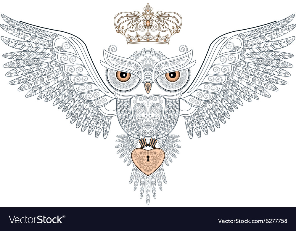 Owl tattoo with the crown and heart vector