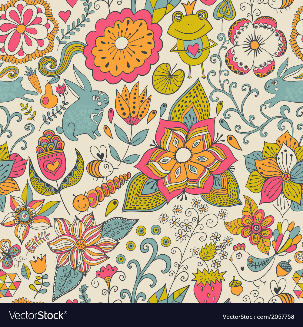 Seamless texture with flowers birds and vector