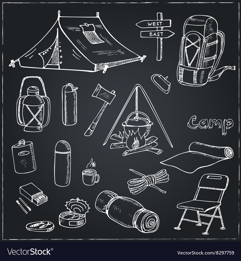 Set of hand drawn camping equipment drawings vector