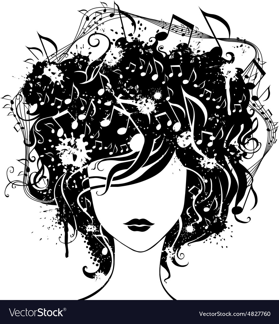 Abstract woman with music in hair vector