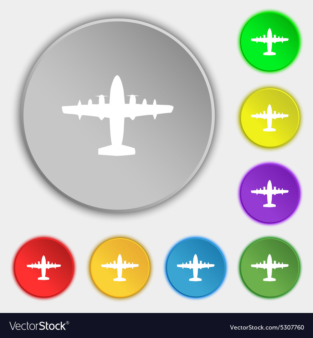 Aircraft icon sign symbol on five flat buttons vector