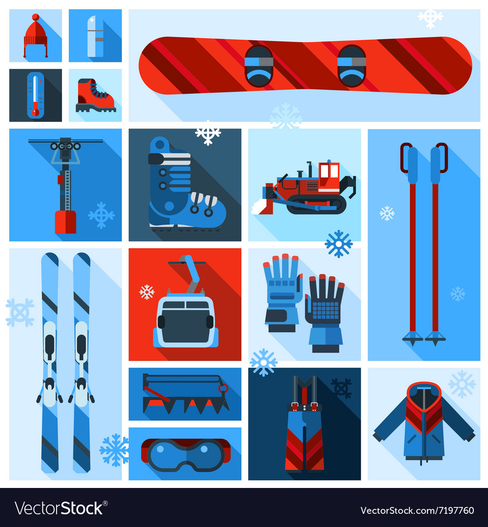 Skiing equipment icons set vector