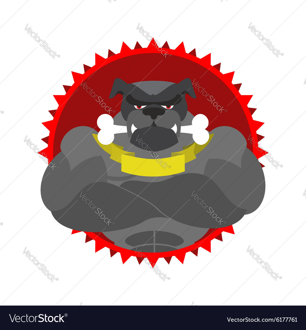 Angry dog round emblem large bulldog bodybuilder vector