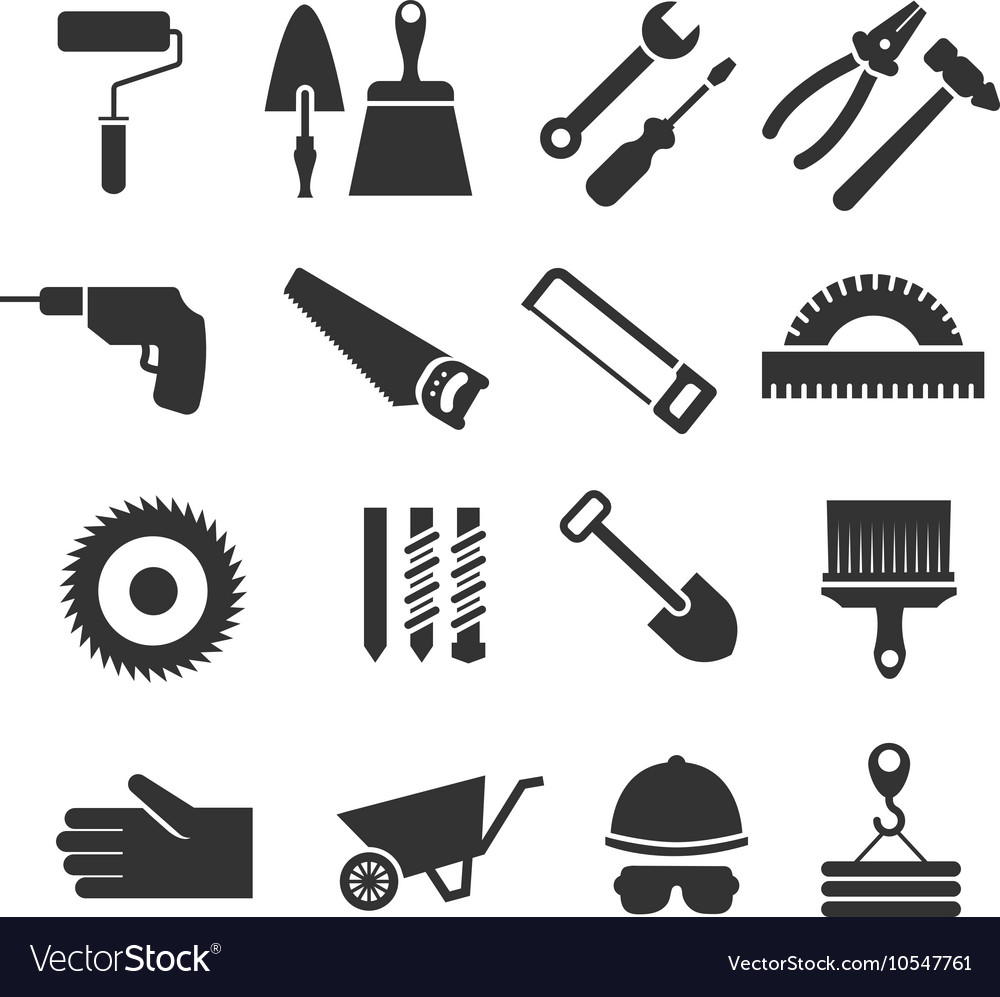 Construction tools black icons set vector