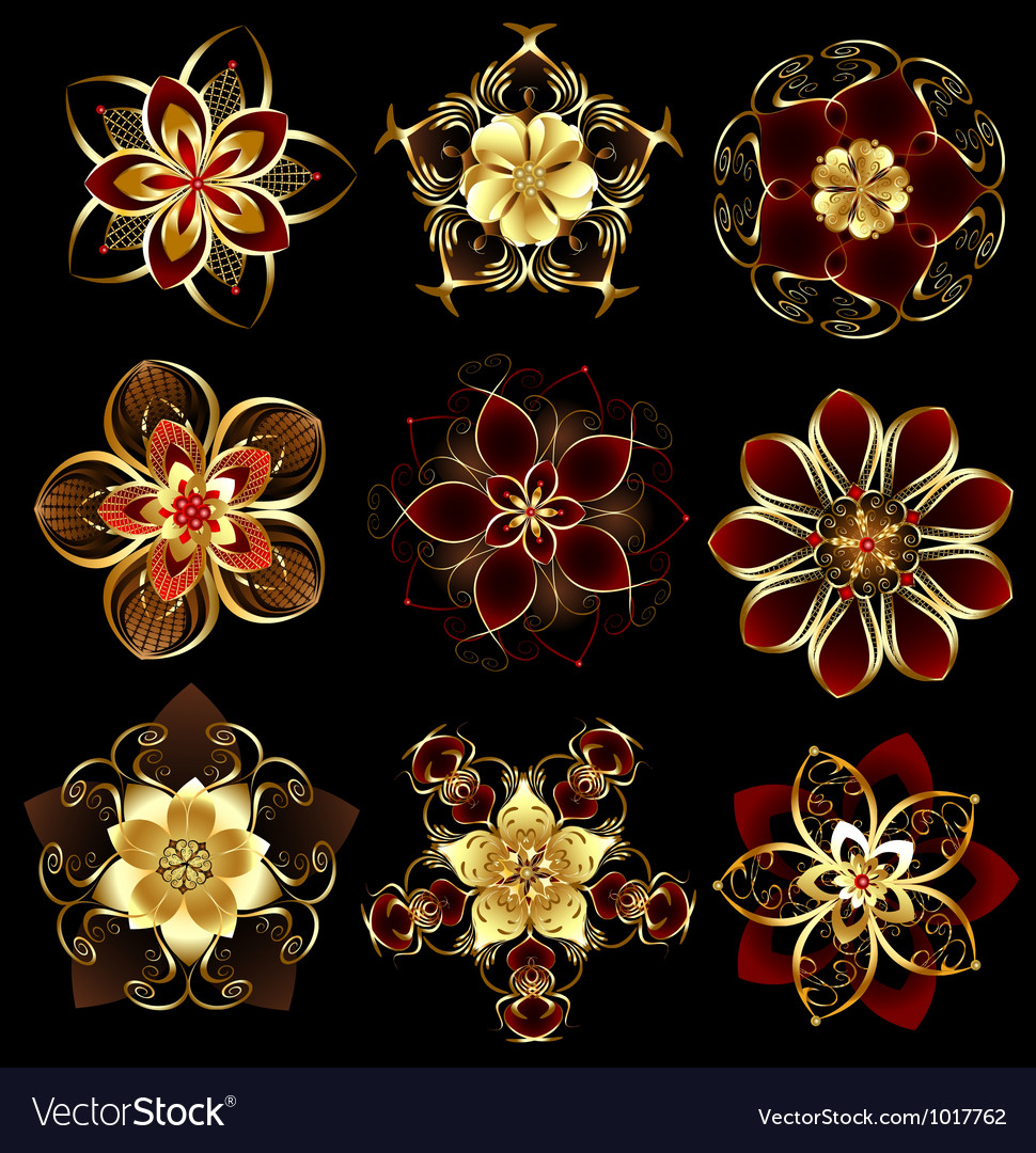 Jewelry abstract flowers vector