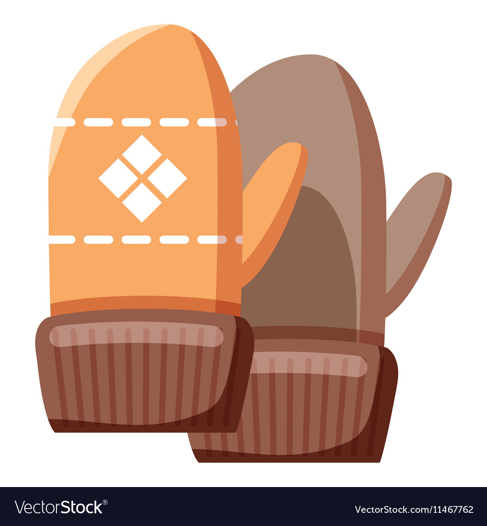 Mittens icon cartoon style vector