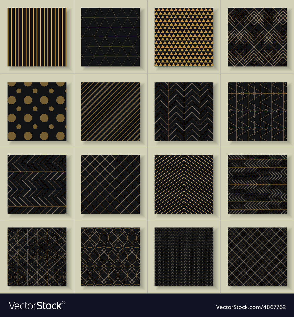 Set of 16 abstract gold geometric patterns vector