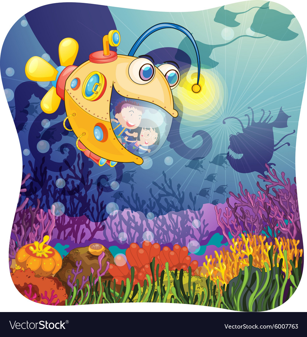 Children in submarine under the water vector