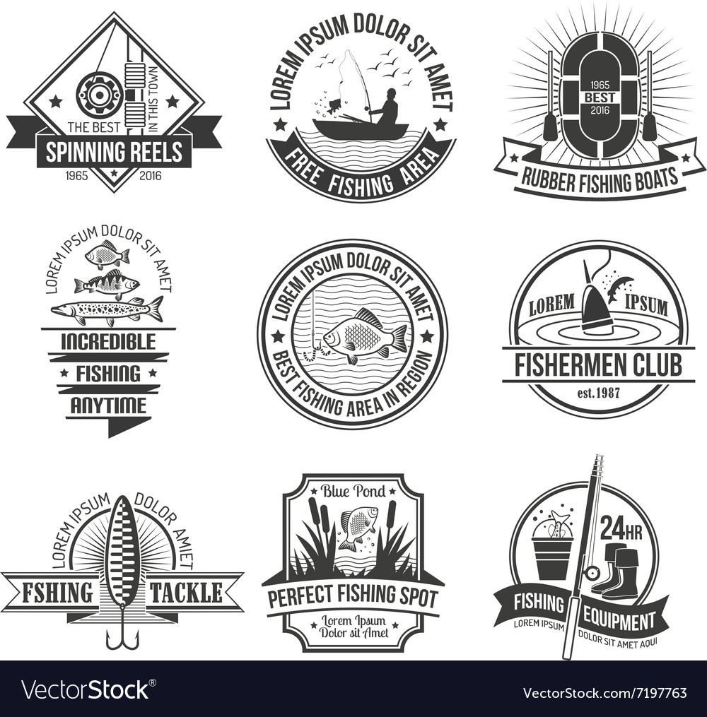 Fishing emblems set vector