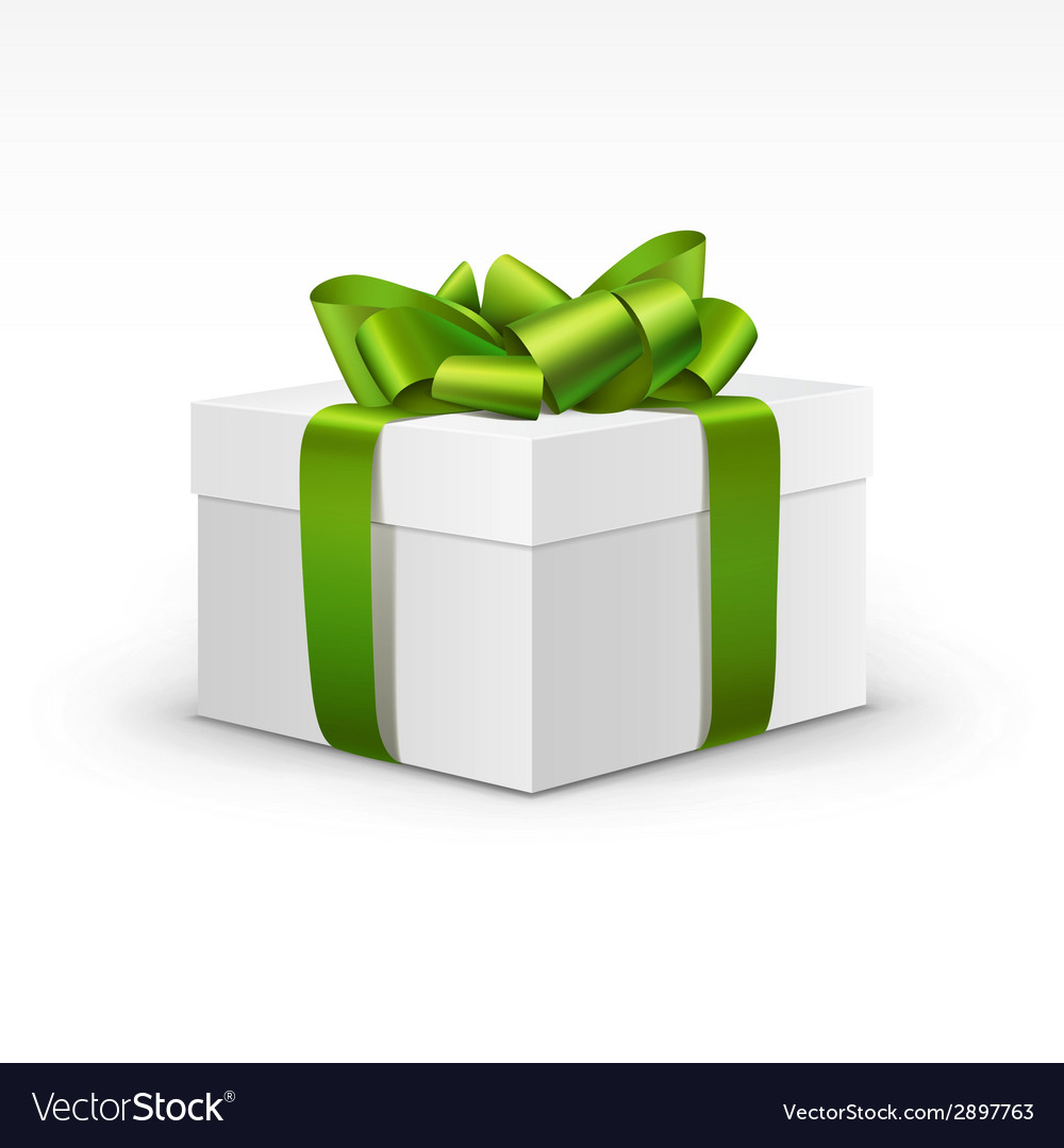 White gift box with light green ribbon isolated vector