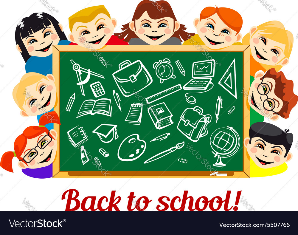 Children behind chalkboard with school supplies vector