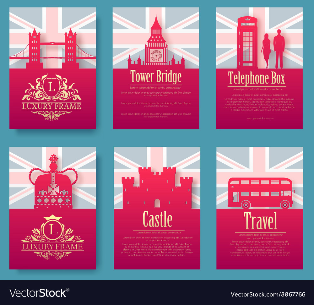 Set of england country ornament vector