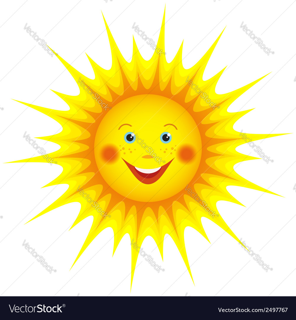 Smiling sun cartoon orange vector