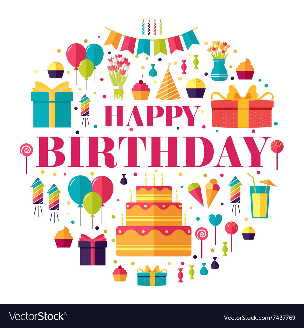 Flat happy birthday circle infographics template vector