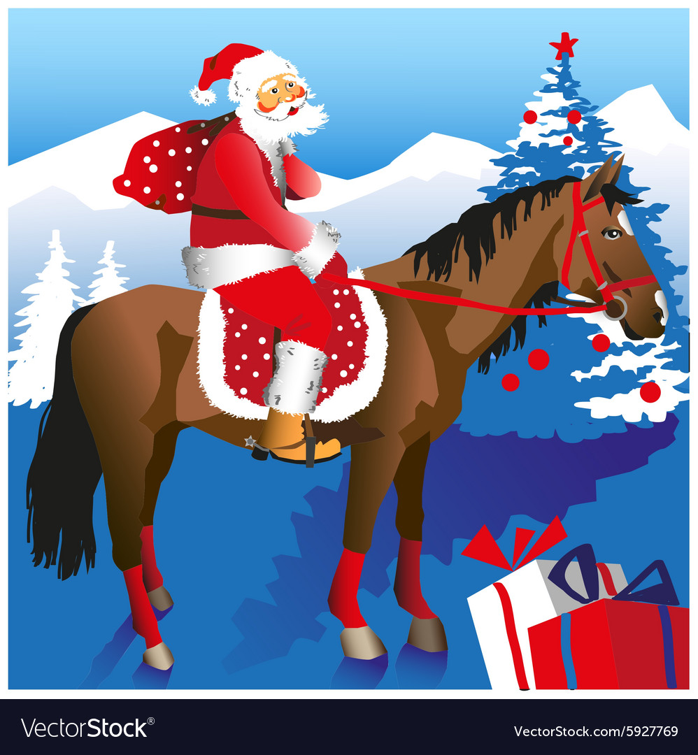 Santa on horseback vector
