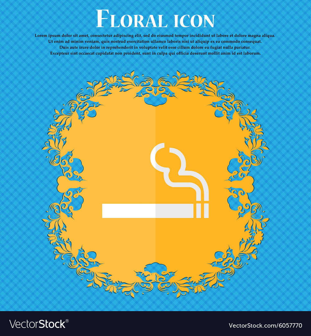 Cigarette smoke floral flat design on a blue vector