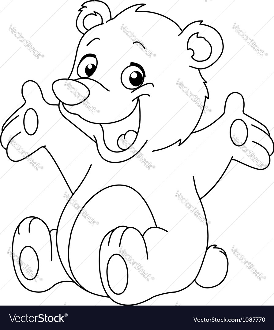 Outlined happy teddy bear vector
