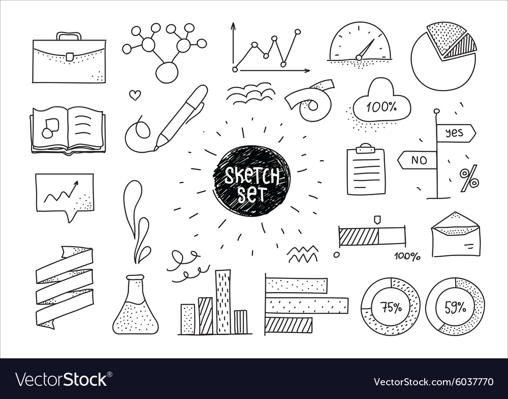 Sketch set of infographic hand drawn elements and vector