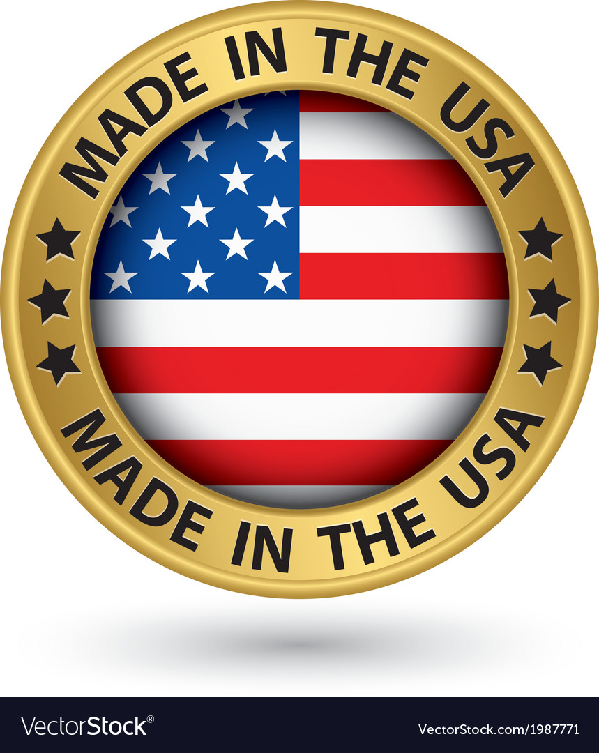 Made in the usa gold label vector