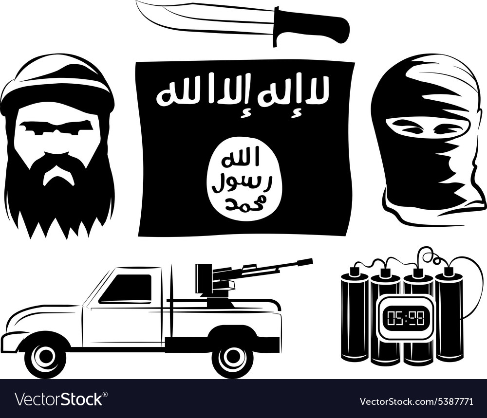 Set of isil extremists flag timebomb gun knife vector