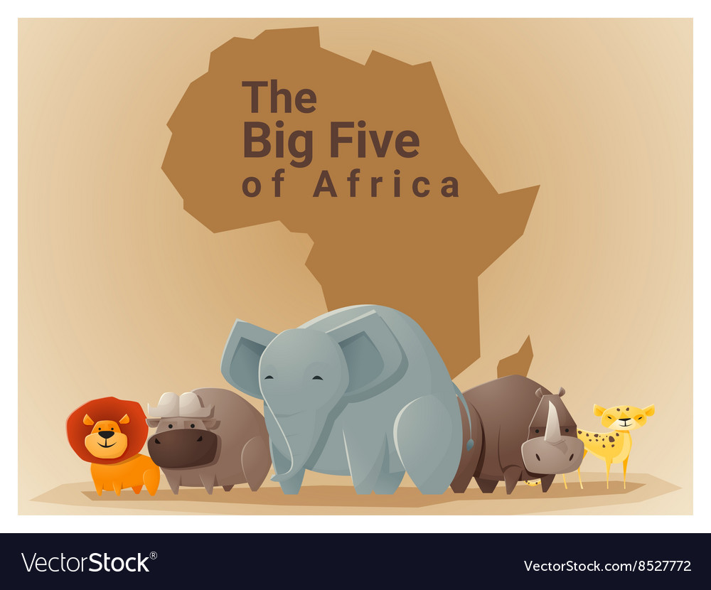 Wild african animal background big five 1 vector