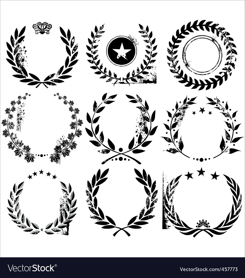 Grunge laurel wreaths vector